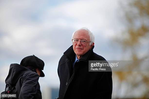 Candidate takes the podium Senator Bernie Sanders addressed a rally in Greenpoint Brooklyn's WNYC Transmitter Park attended by some one thousand...