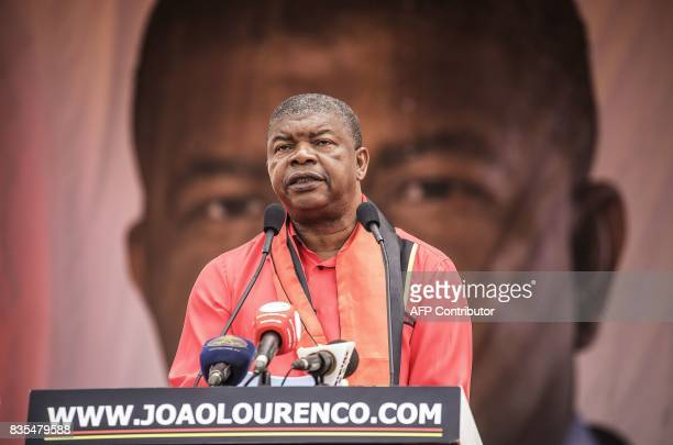 MPLA candidate to the presidency Joao Lourenco delivers his keynote during the closing campaign rally in Luanda on August 19 ahead of Angolan...