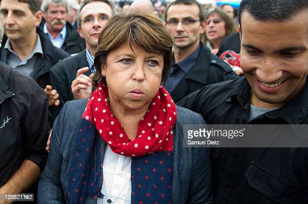 Candidate to the upcoming French Socialist Party primary elections Martine Aubry attends day 2 of La Fete de l'Humanite on September 17 2011 at La...