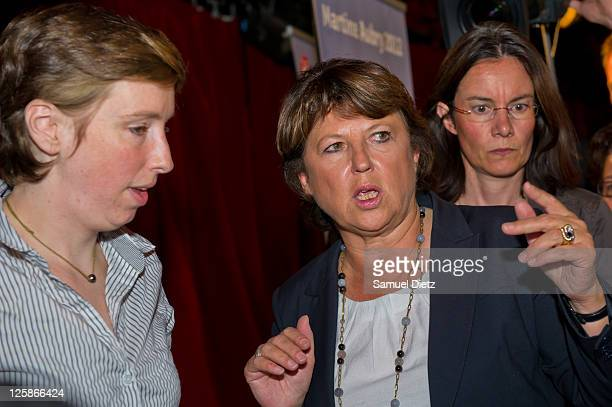 Candidate to the upcoming French Socialist Party primary elections Martine Aubry attends a gender equality meeting at Le Cabaret Sauvage on September...