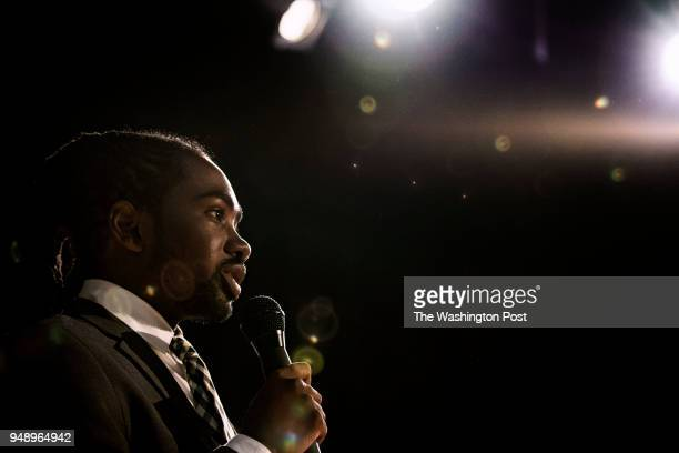 Candidate Trayon White addresses attendees at the Ward 8 Democrats' city council member straw poll forum at Anacostia High School in Washington...