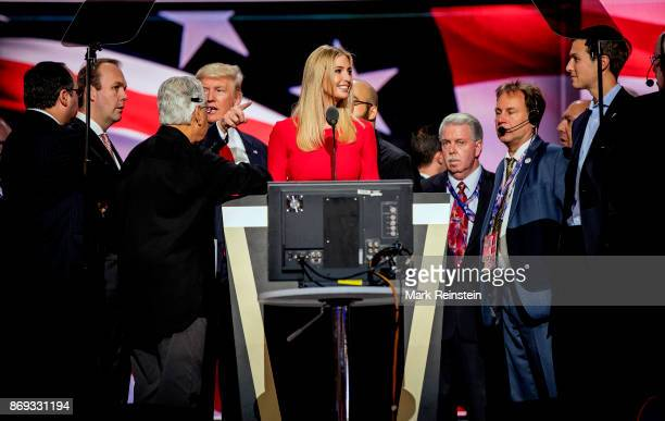 Candidate Trump's daughter Ivanka Trump on stage during the sound check on the final day of the Republican National Convention at Quicken Loans Arena...