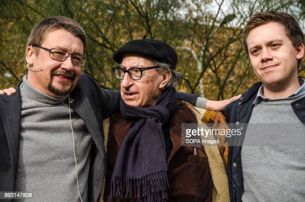 Candidate Xavier Domènech with Vicenç Navarro and Owen Jones for the Catalan regional elections 1O at the end of the act Equidistant from the...