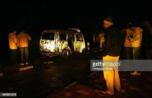 AAP candidate's car allegedly set on fire after clash between AAP and BJP during the shoot of a TV news debate in which leaders of both the parties...