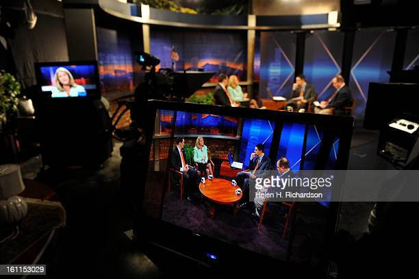 Candidates for Colorado State Treasurer Walker Stapleton left and Cary Kennedy second from left participated in a debate at 9News studios at 500...