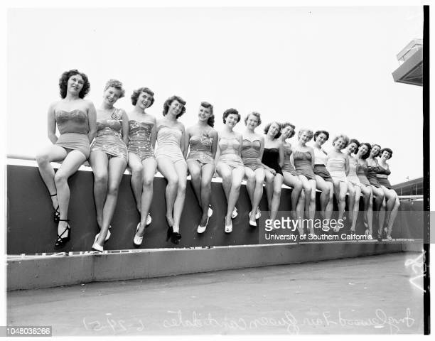 Candidates for Inglewood fair queen , June 24, 1951. Lavon Dixon;Shirley Saunders;Barbara Lyon;Elaine Tillman;Carolyn Jones;Barbara Gardner;Martha...