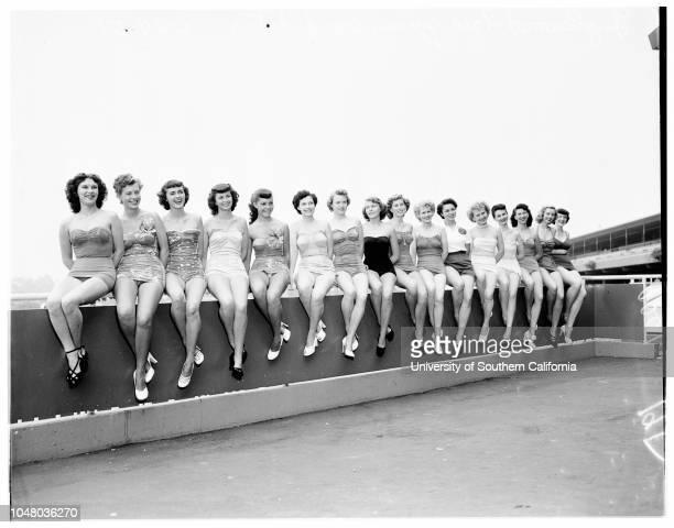 Candidates for Inglewood fair queen June 24 1951 Lavon DixonShirley SaundersBarbara LyonElaine TillmanCarolyn JonesBarbara GardnerMartha LandsmanLola...
