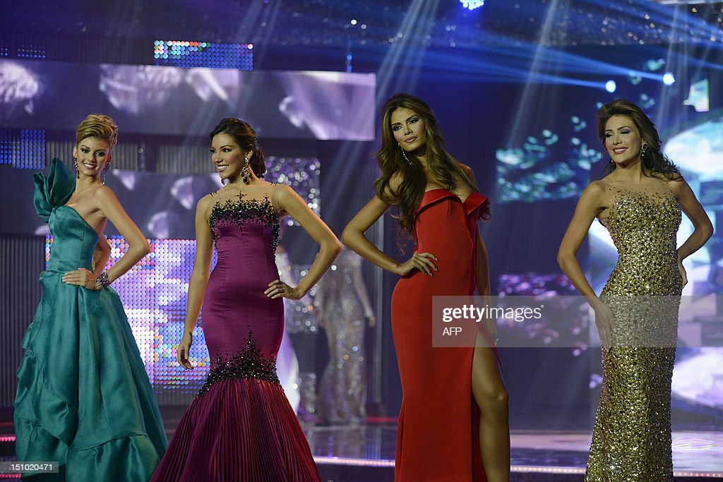 Candidates for Miss Venezuela 2012 beauty pageant in evening gown ...