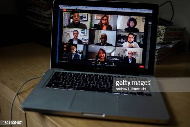 Candidates for New York City mayor hold a virtual debate on Zoom to discuss hunger and food policies in New York City on February 9 as seen from a...
