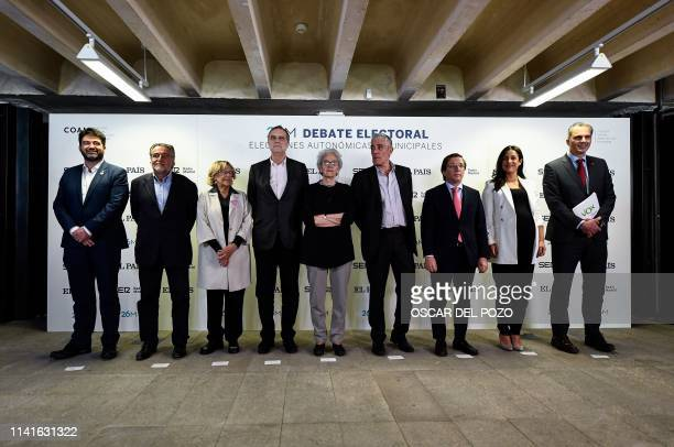 Candidates for the mayoralty of Madrid councilman of Now Madrid party Carlos Sanchez Mato PSOE candidate Pepu Hernandez Madrid Mayor Manuela Carmena...