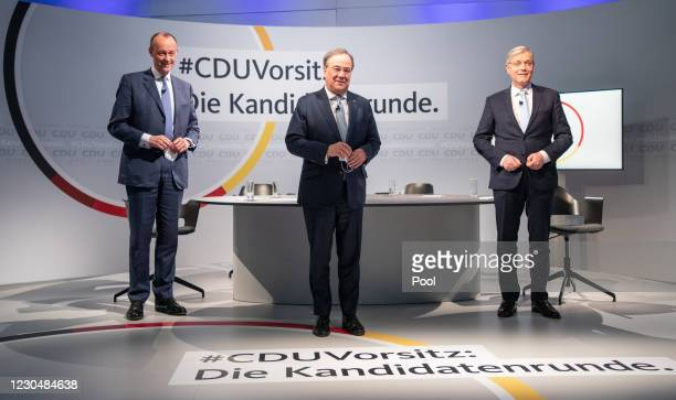 Candidates for the presidency of Germany's Christian Democratic Union , Friedrich Merz, Armin Laschet and Norbert Roettgen attend discussion in CDU...