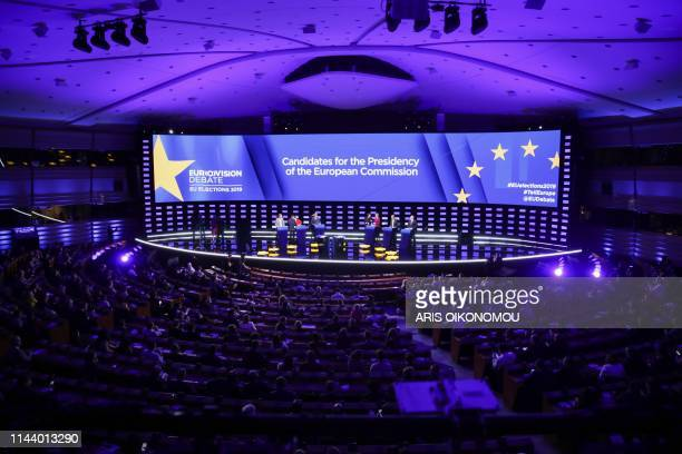 Candidates for the upcoming European Commission president elections get ready on stage prior to the Eurovision presidential debate at the European...