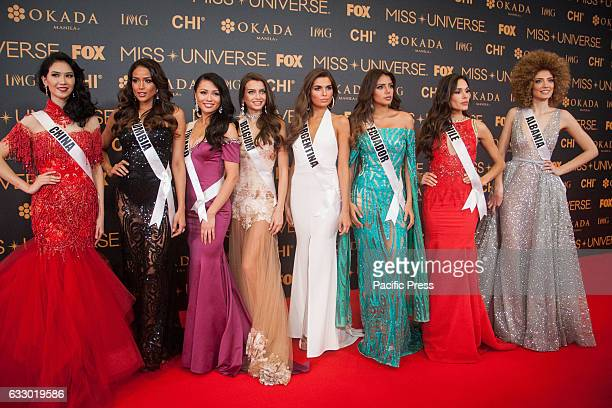 Candidates from China Columbia Finland Belgium Argentina Ecuador Chile and Albania pose for pictures att the SMX in Pasay City Miss Universe...