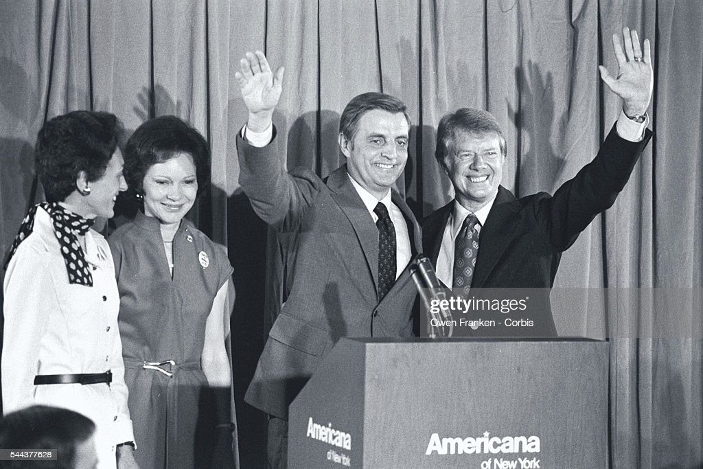Candidates Jimmy Carter and Walter Mondale stand with their wives at a 1976 Democratic Convention press conference.