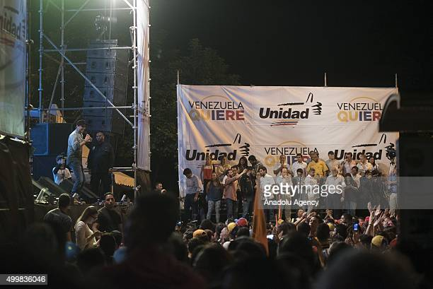 Candidates of the opposition are seen at a campaign rally for opposition candidates in Caracas Venezuela on Thursday December 3 2015 Venezuelans head...