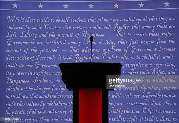 A candidate's podium is seen on the stage where Democratic presidential candidate Hillary Clinton and Republican presidential candidate Donald Trump...