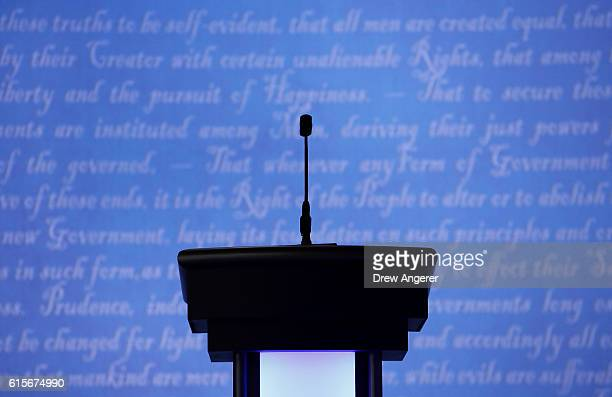 A candidates podium seen prior to the start of the third US presidential debate at the Thomas Mack Center on October 19 2016 in Las Vegas Nevada...
