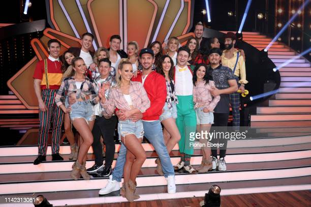 Candidates pose on stage during the 4th show of the 12th season of the television competition Let's Dance on April 12 2019 in Cologne Germany