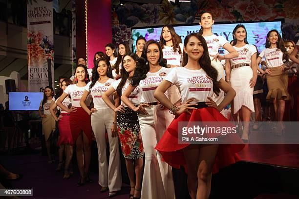 Candidates posed on stage during the first round qualification for the transvestite and transgender beauty pageant Miss Tiffany Universe 2015 in...