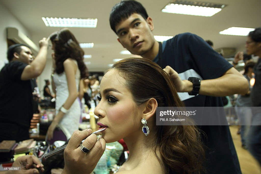 A candidates prepares and makes up backstage for The Miss Tiffany Universe contest 2014 in Pattaya. This year marked the 40th anniversary of the Tiffany's show in Pattaya and this was the 16th Miss Tiffany Universe contest with all of the transsexual or transvestite contestants, aiming to promote human rights for the trans-gender population in Thailand.