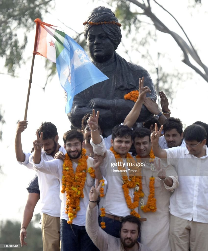 NSUI candidates Rocky Tuseed - President and Kunal - Vice President, along with Dipender Hooda and others, during their victory celebrations after the DUSU Election result at Arts Faculty in North Campus, Delhi University, on September 13, 2017 in New Delhi, India. Congress-backed National Students Union of India (NSUI) staged a comeback on the DU campus by bagging two posts - President and Vice-president - in Delhi University Students Union (DUSU) polls. The RSS-backed Akhil Bharatiya Vidyarthi Parishad (ABVP) which had won three seats last year, including that of the president, could only win posts of secretary and joint secretary.