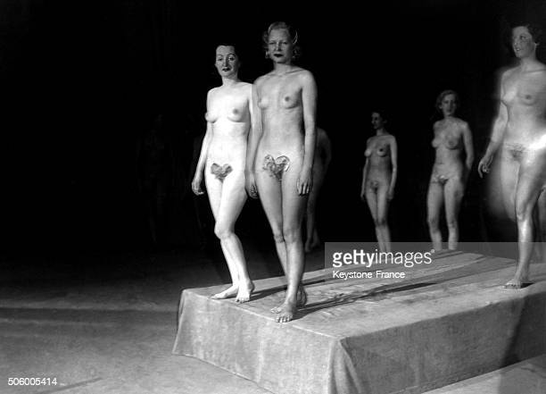 Candidates to the Miss Venus de France 1935 beauty contest parading on the catwalk in Paris, France on February 1, 1935.