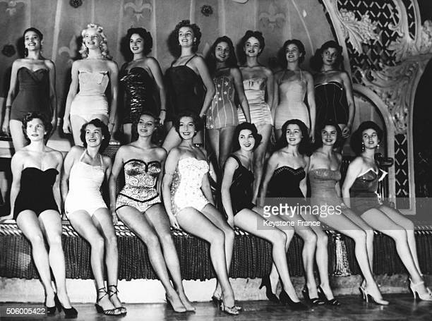 Candidates to the Miss World 1954 beauty contest posing at the Lyceum Theatre in London United Kingdom on October 16 1954 from left to right Miss...