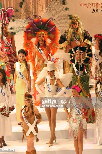 Candidates wear their national costumes as they compete in the 2005 Miss International beauty pageant on September 26 2005 in Tokyo Japan