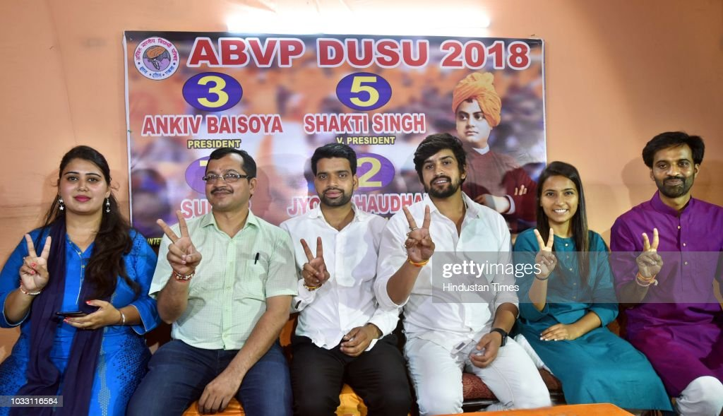 ABVP candidates, who won in the Delhi University Students Union (DUSU) elections, President Ankiv Baisoya (C), Vice President Shakti Singh (3R), and Join Secretary Jyoti Chaudhary (2R) along with ABVP's Delhi State President Avneesh Mittal (2L), State Secretary Bharat (R), and State Spokes Person Monika (L) during a press conference at Deen Dayal Upadhyay Marg, on September 14, 2018 in New Delhi, India. ABVP's Ankiv Basoya won the presidential post with a margin of 1744 votes while party's candidate Shakti Singh was declared as the vice president after he won with a margin of 7673 votes. NSUI's Akash Choudhary won the secretary's post while ABVP's Jyoti emerged victorious on the joint secretary post.