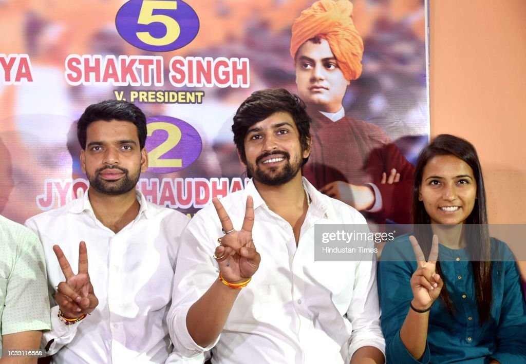ABVP candidates, who won in the Delhi University Students Union (DUSU) elections, President Ankiv Baisoya (L), Vice President Shakti Singh (C), and Join Secretary Jyoti Chaudhary (R) during a press conference at Deen Dayal Upadhyay Marg, on September 14, 2018 in New Delhi, India. ABVP's Ankiv Basoya won the presidential post with a margin of 1744 votes while party's candidate Shakti Singh was declared as the vice president after he won with a margin of 7673 votes. NSUI's Akash Choudhary won the secretary's post while ABVP's Jyoti emerged victorious on the joint secretary post.