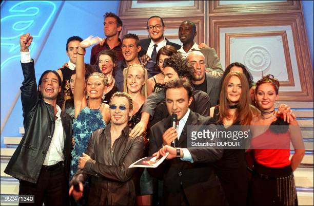 Candidates with TV Host Nikos Aliagas and Florent Pagny
