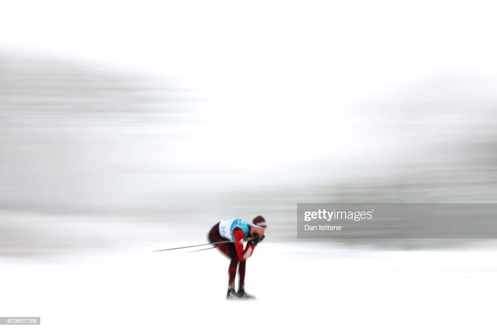 Candide Pralong of Switzerland competes during the Men's 50km Mass Start Classic on day 15 of the PyeongChang 2018 Winter Olympic Games at Alpensia Cross-Country Centre on February 24, 2018 in Pyeongchang-gun, South Korea.