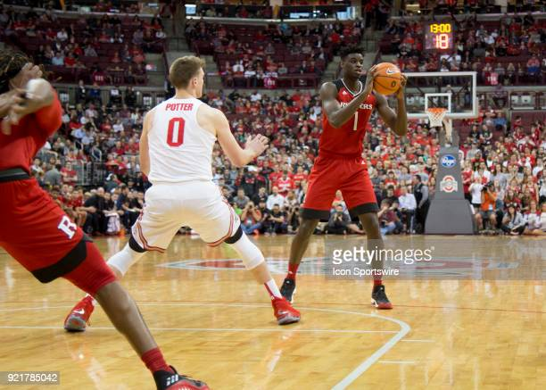 Candido Sa of the Rutgers Scarlet Knights looks to pass the ball during the game between the Ohio State Buckeyes and the Rutgers Scarlet Knights at...