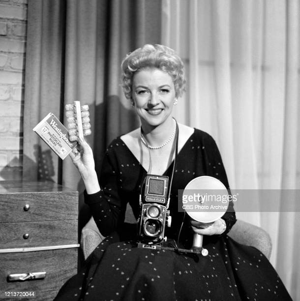 """Candids of Betty Furness with Rolleiflex and Westinghouse Flash Bulbs on the CBS television network series, """"Studio One."""""""
