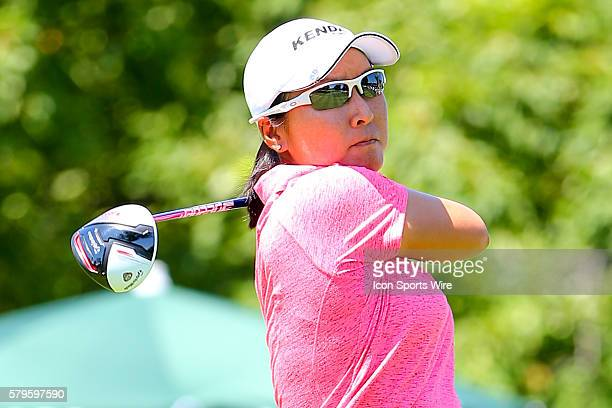 Candie Kung of Chinese Taipei tees off at the par 4 1st hole during the third round of the 2015 US Womens Open played at Lancaster Country Club in...