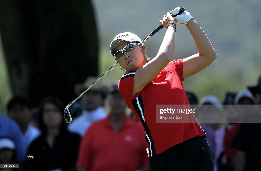 Candie Kung of Taiwan hits her tee shot on the second hole during the final round of the Kia Classic Presented by J Golf at La Costa Resort and Spa on March 28, 2010 in Carlsbad, California.