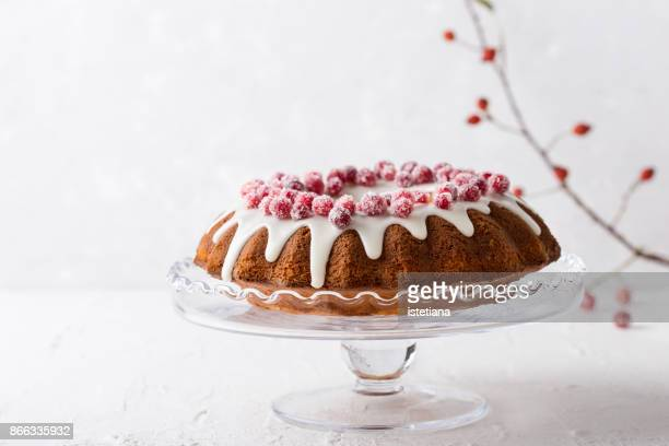 candied cranberries bundt cake - country christmas stock pictures, royalty-free photos & images