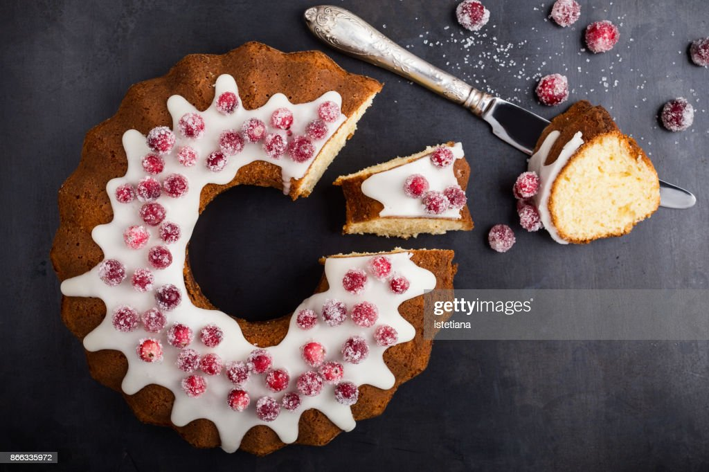 Candied cranberries bundt cake : Stock-Foto