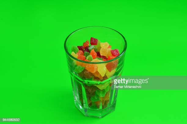 Candied fruit in glass