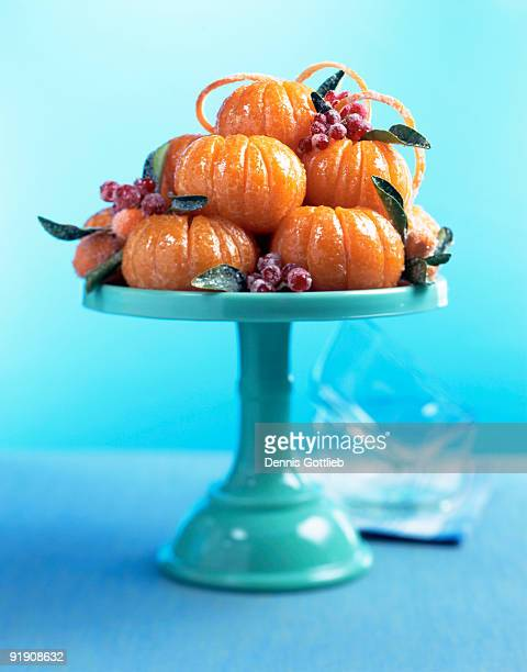 Candied oranges on cake stand