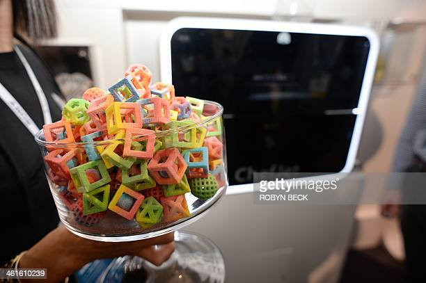 Candies made in a 3D Systems ChefJet Pro 3D food printer are displayed at the 2014 International CES January 9 2014 in Las Vegas Nevada The ChefJet...
