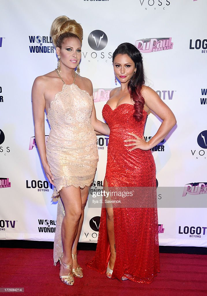 Candis Cayne and Jenni 'JWoww' Farley attend Logo TV's Official Pride NYC 2013 Event at Highline Ballroom on June 30, 2013 in New York City.