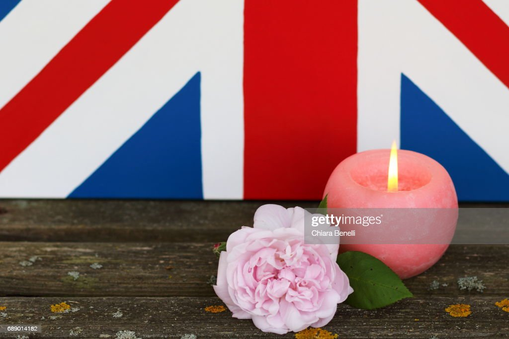 candle and pink rose : Stock Photo