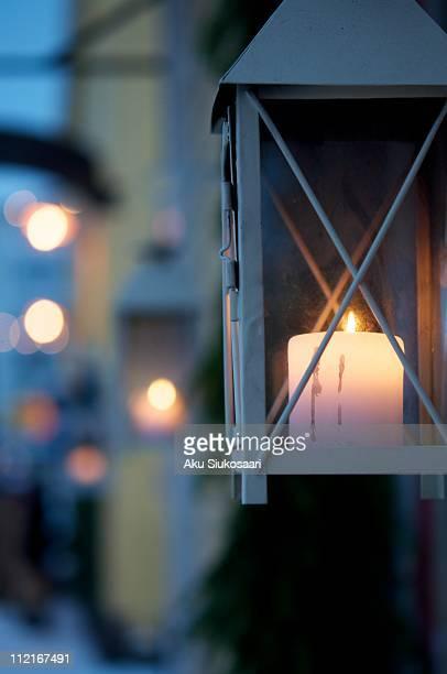 Candle burning outside