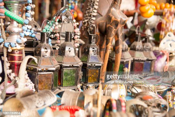 candle chandeliers on souvenir shop, taghazout, agadir, morocco - agadir stock pictures, royalty-free photos & images