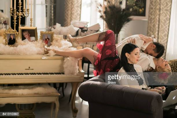 OUT Candle in the Windbag Episode 302 Pictured Jill Kargman as Jill Yurel Echezarreta as Ernesto Joanna Cassidy as Candace