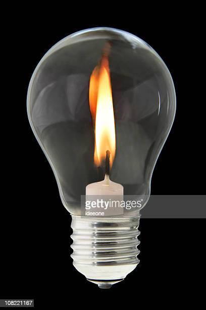 candela all'interno della lampadina - candela foto e immagini stock