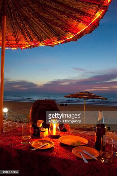 Candle light dinner on beach. Benaulim, Goa, India