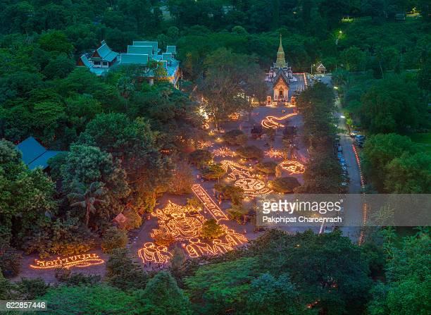 10,000 candle light, for Thai religious day 'Phansa' took place at Wat tha khanun in Kanchanaburi, Thailand.