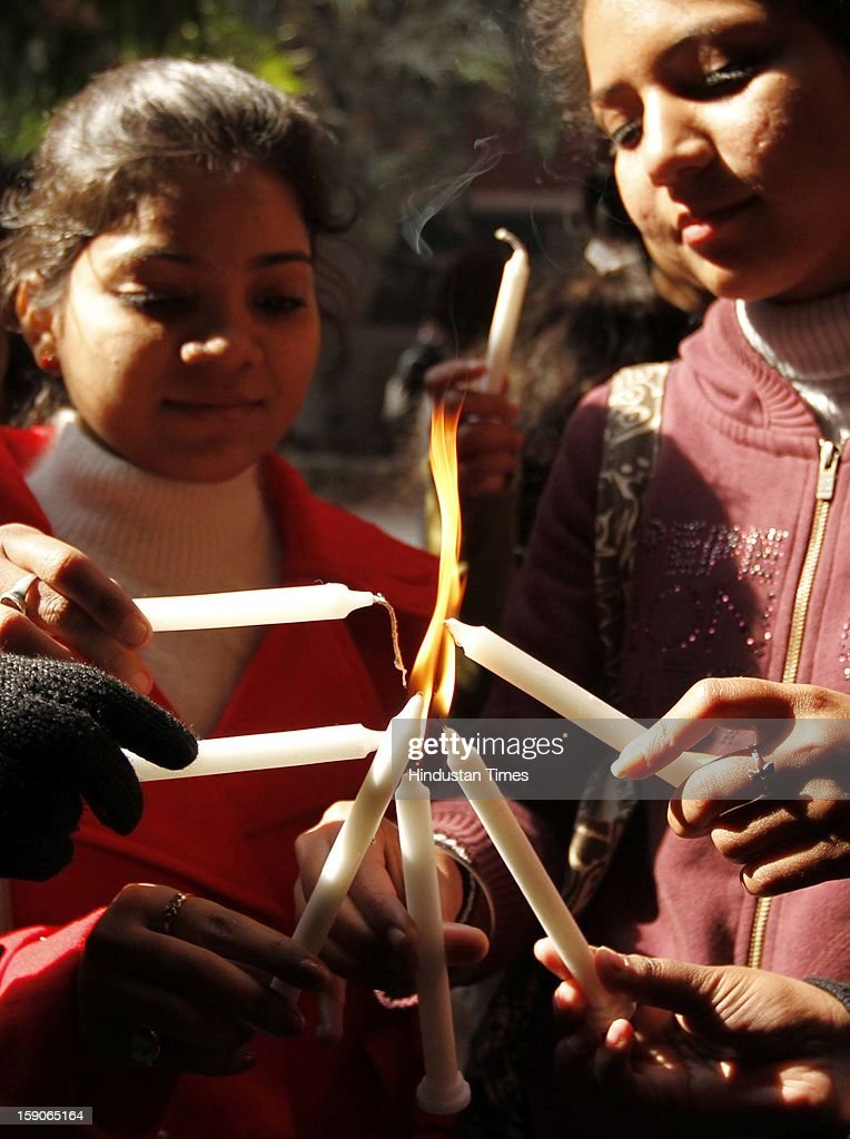 Candle light march by students of Institute of Home Economics demanding justice for the Gangrape victim at Hauz Khaz on January 7, 2013 in New Delhi, India.